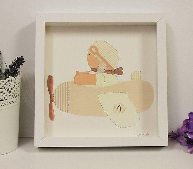 Lámina con marco 12- Niño Aviador beige