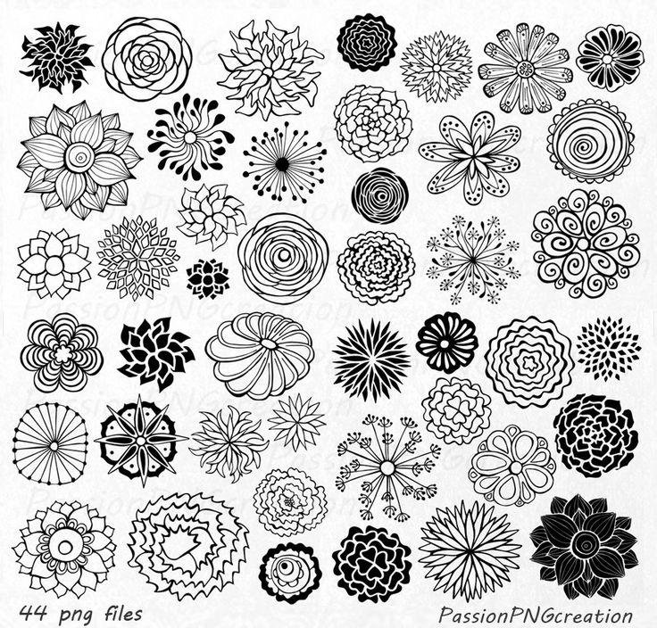 GROßE SET! 44 Hand gezeichnet Blumen Clipart, Blume Element, Blumen Silhouetten, Png, Eps, Ai, Vektor, clip-Art, für persönlichen und kommerziellen Gebrauch