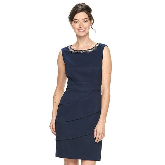 Women's Connected Apparel Tiered Embellished Sheath Dress, Blue (Navy):