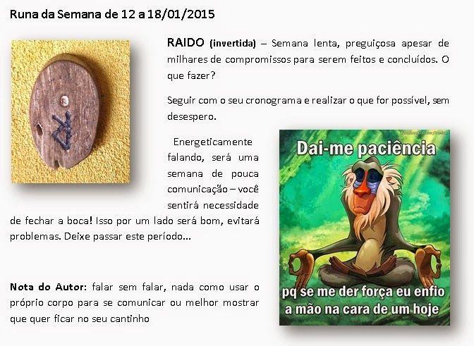 MAURICIO FERREIRAA: Runa da Semana de 12 a 18/01/2015