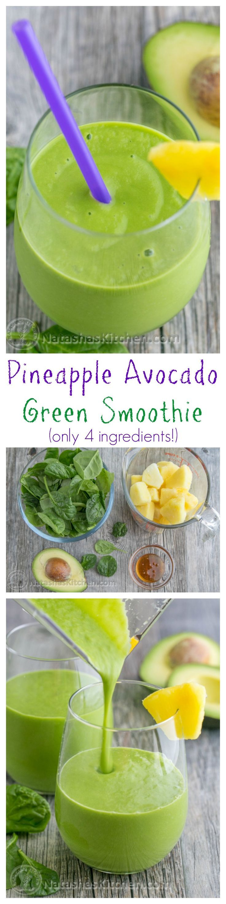 This pineapple avocado green smoothie is delicious, nutritious, energy boosting and good till the last drop /natashaskitchen/