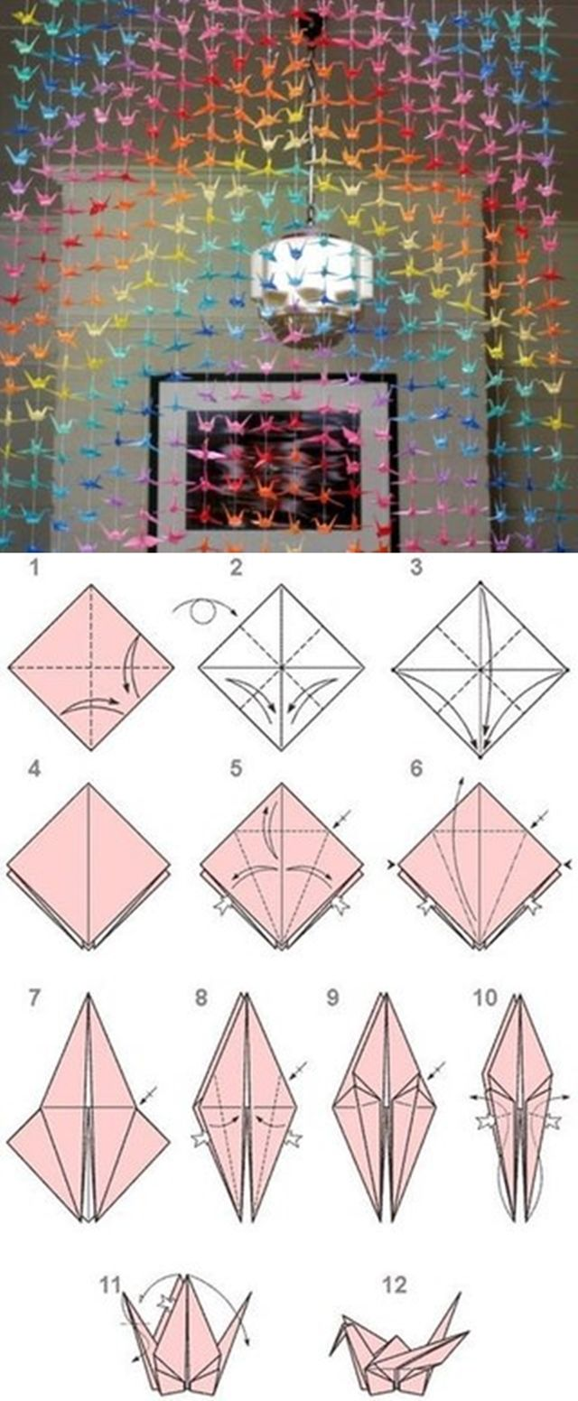 Diy paper origami crane curtain like for Origami curtain