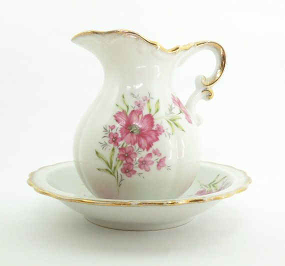 Porcelain Pitcher And Wash Basin Bowl Set With Pink