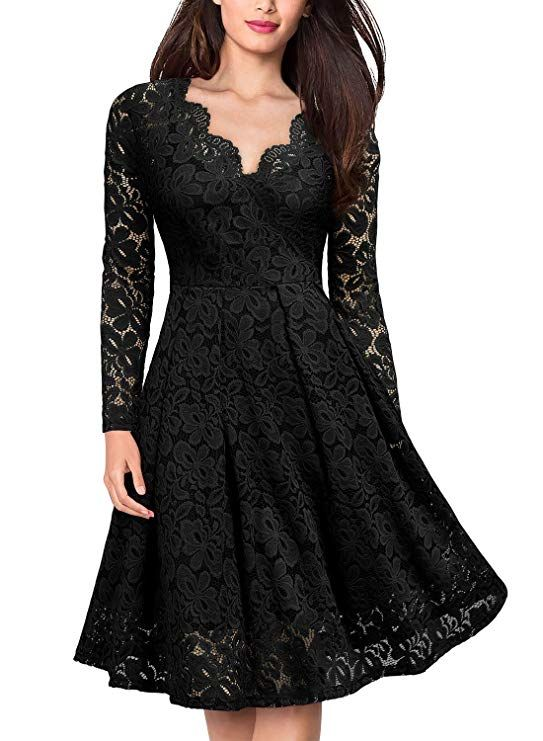 85dcfc0aae  MISSMAY Women s Vintage  Floral Lace Boat Neck Cocktail Formal Swing Dress