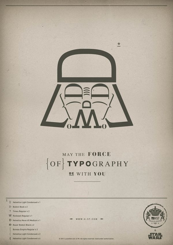 The Force of Typography by H-57, via Behance