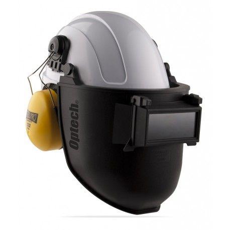 Pantalla de soldar tono 11 adaptable a casco. Referencia  2188-PSC Marca:  Marca PL  Características: Pantalla para soldar con visor abatible tono 11 adaptable a cascos con ranura estándar de 3mm, para las chispas y radiaciones IR de los procesos de soldadura. Fabricada en Polipropileno, muy ligero, pero con alta resistencia a la temperatura, al impacto y a las agresiones químicas. Visor abatible, que permite levantar la lente de soldadura para visualizar la pieza soldada sin