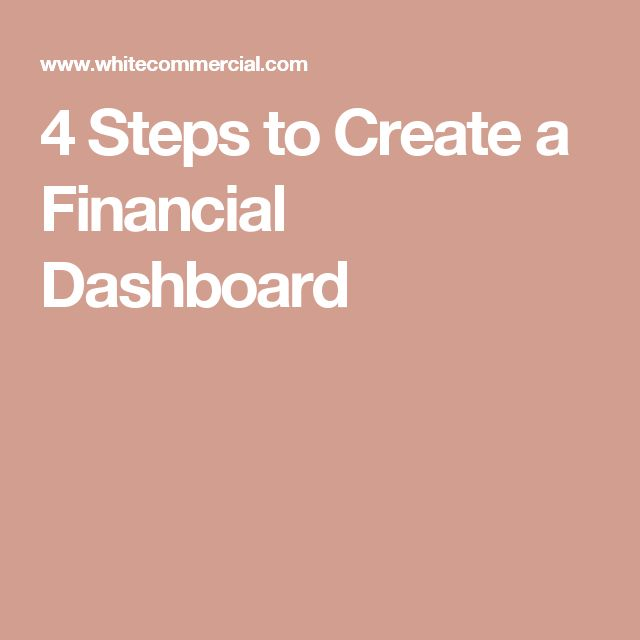 4 Steps to Create a Financial Dashboard