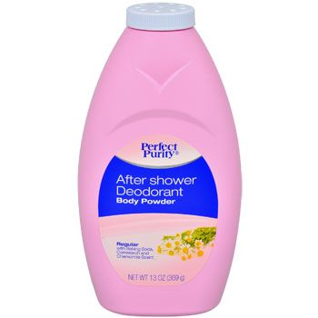 Perfect Purity® After Shower Deodorant Body Powder leaves skin soft and fresh, with a sweet chamomile scent. Use daily to protect against odor and wetness for a refreshed, clean feeling. Great for