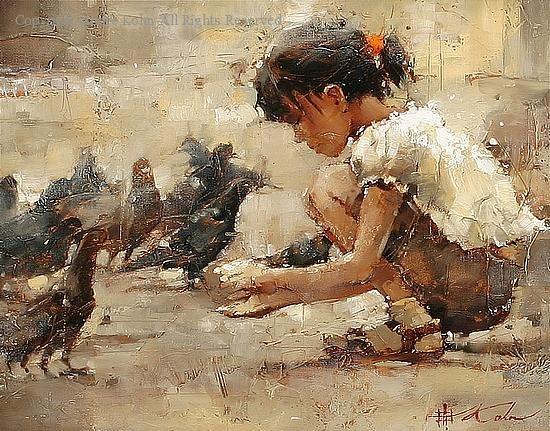 Saint Mark's Square - Oil by Andre Kohn