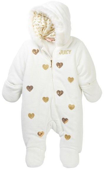 Juicy Couture Sequin & Glitter Heart Faux Fur Trim Velour Jumpsuit (Baby Girls)