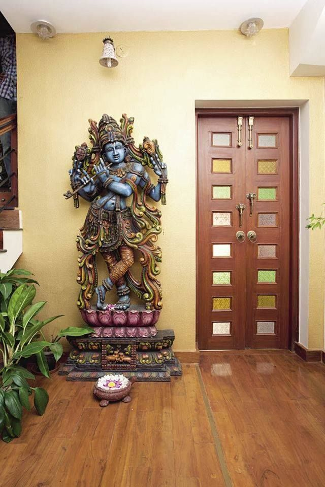 Hindu Home Decor With Krishna Statue Asian Garden