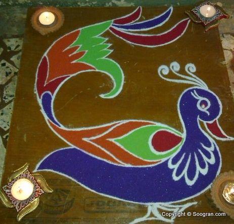 peacock rangoli - nice sharp lines