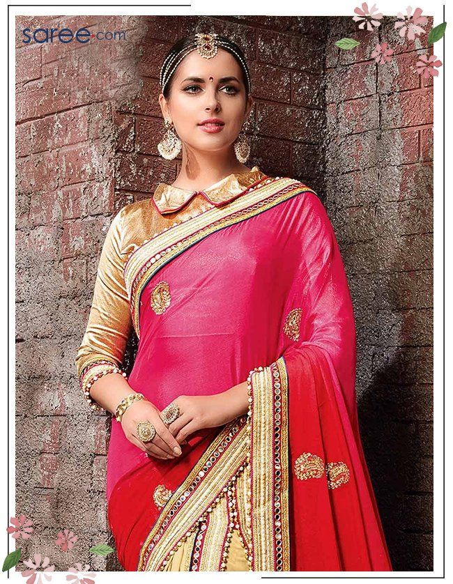Red and Beige Satin Chiffon Saree with Embroidery Work - 10