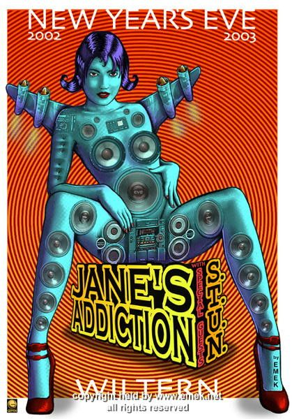 "Jane's Addiction concert poster. Artist: EMEK Venue: Wiltern Theatre Location: Los Angeles, CA Concert Date: 12/31/2002 Size: 20"" x 29"" Condition: Mint Notes: signed and d"