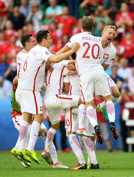 #EURO2016 Poland players celebrate their win through the penalty shootout after the UEFA EURO 2016 round of 16 match between Switzerland and Poland at Stade...