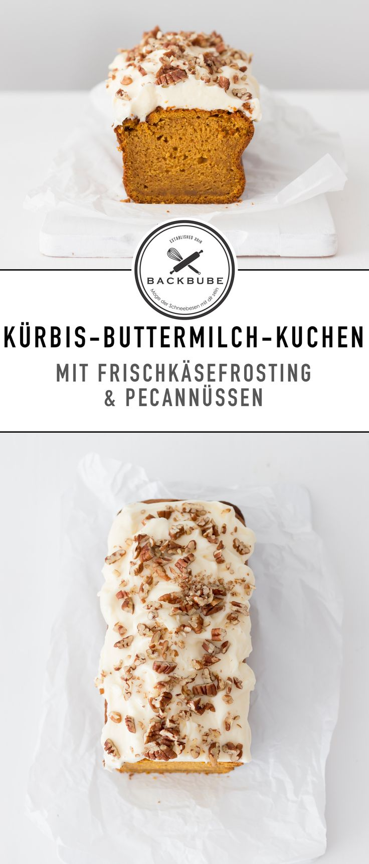 Kürbis-Buttermilchkuchen mit Frischkäsefrosting und Pecannüssen / pumpkin buttermilk cake with cream cheese frosting and pecans / www.backbube.com - Foodblog