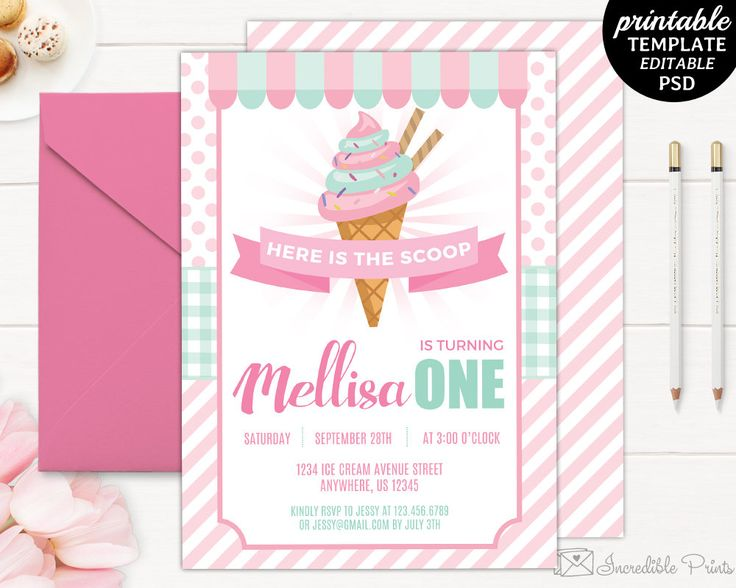 17 Best ideas about Ice Cream Invitation – Birth Invitation Card
