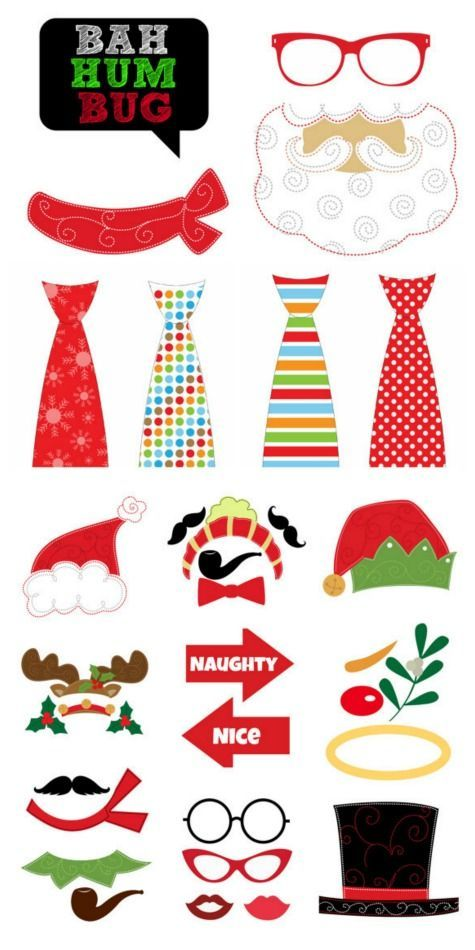 Holiday Photo Booth Prop Printables