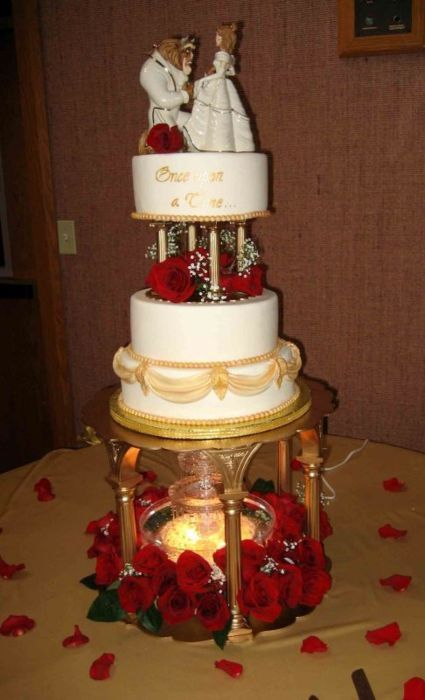 Beauty & the Beast cake... I would have totally had this for my wedding if I had been able to find the cake topper
