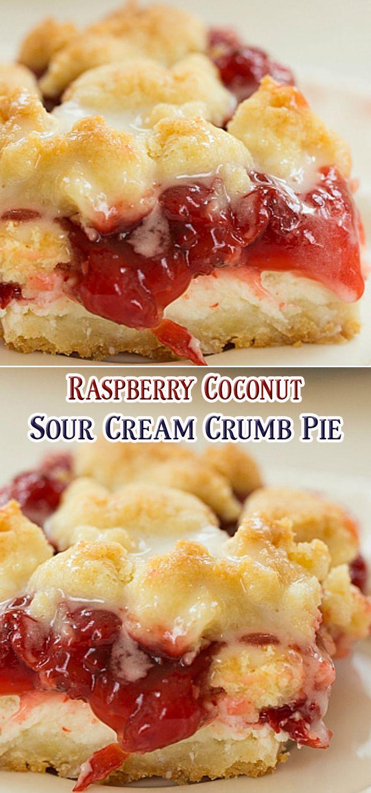 Raspberry Coconut Sour Cream Crumb Pie
