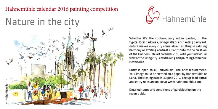 """Looking for green oasis – painting competition on """"Nature in the City"""" starts. Like, share and join in! news.hahnemuehle.... ©Artwork by One Day One Sketch - Jens Huebner #Malwettbewerb #Künstler #Wettbewerb #Natur #Kalender #paintingcontest #competition #art #nature #urban #sketching #painting #drawing"""
