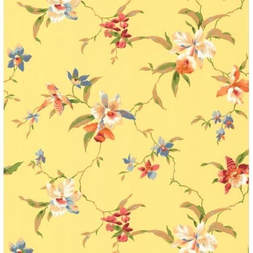 York Wallcoverings CJ2874 Orange and Yellow Book Orchid Wallpaper