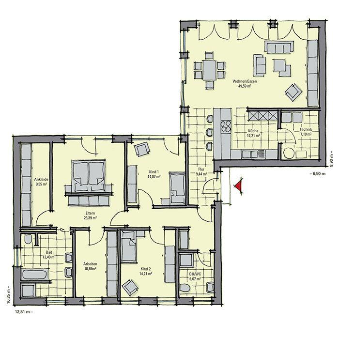 Grundriss bungalow l-form  Die 25+ besten Haus grundrisse Ideen auf Pinterest | Haus ...