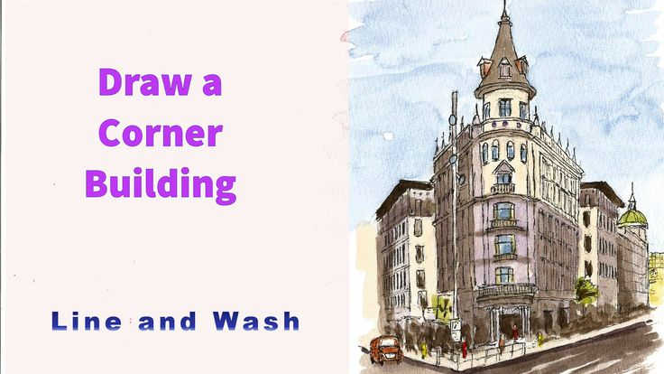 How to  draw a  corner building in 2 point perspective