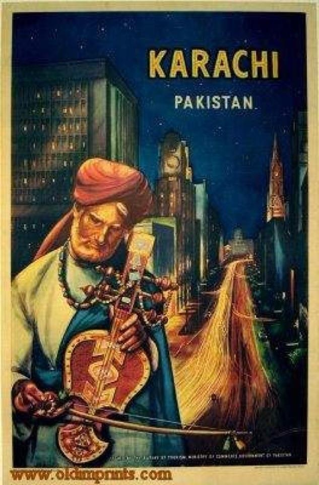 Awesome 1950's tourist poster for #Karachi, the megacity! (courtesy Ismat Sarah Mangla & Steve Inskeep)