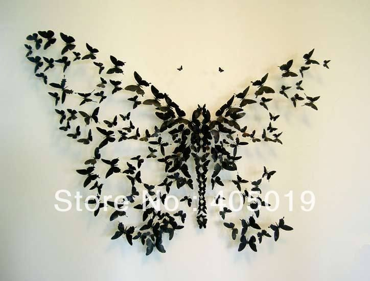 """2.3"""" /5.8cm 3D DIY Butterfly Wall Sticker Decoration 10 Different Colors 2 Different Models Available Gossip Girl's Blairs House(China (Main..."""