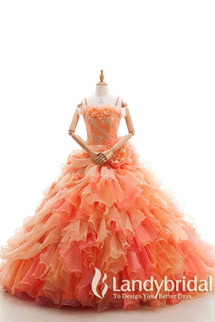 カラードレス プリンセスライン オレンジ 豊富なフリル レース ストラップ付き オーガンジ LD4105 税込: ¥70,200