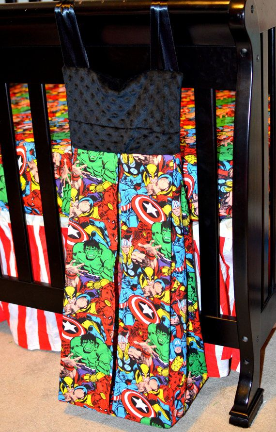 Custom Comic Book Cotton or Flannel Diaper Stacker with Minky Accent -- Premium Fabric - DC and Marvel, Avengers on Etsy, $35.00