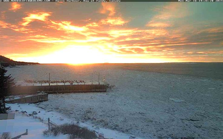 March 16, 2015 #sunset at #HallsHarbour #NovaScotia http://www.novascotiawebcams.com/en/webcams/halls-harbour-2/ #NSWebcams