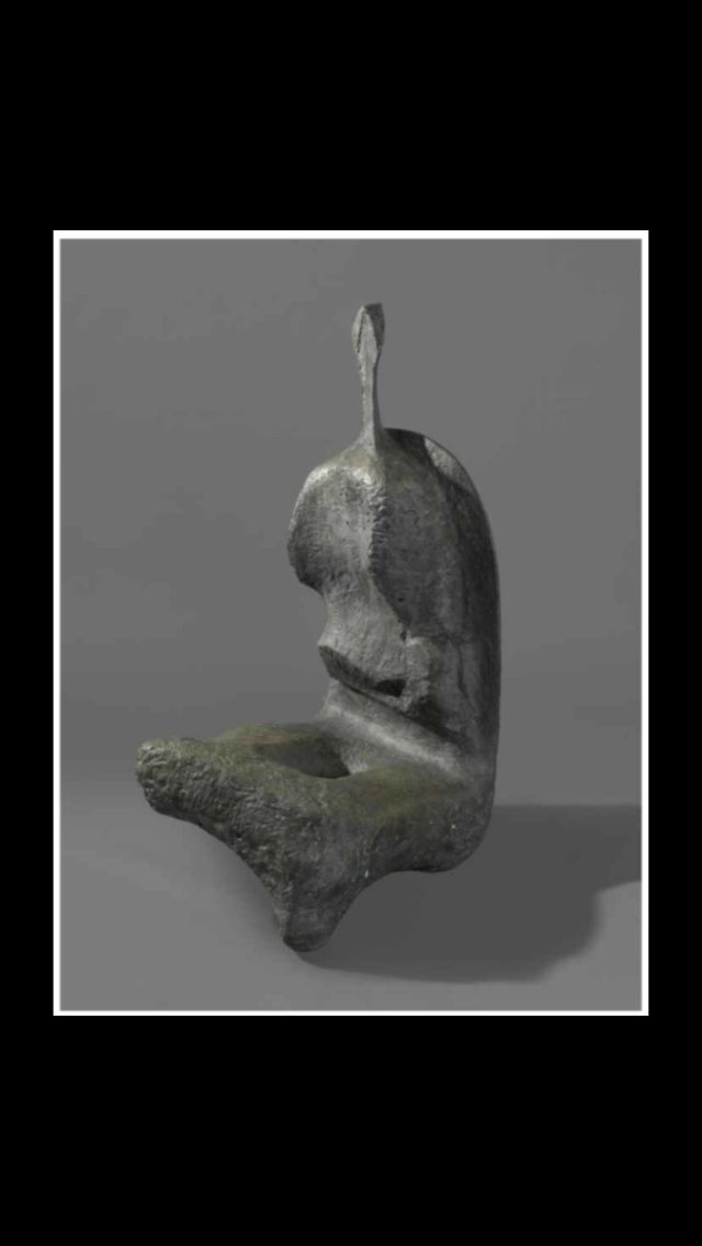 "Henry Moore - "" Seated Woman : Thin Neck "", conceived and cast in 1961 - Bronze - Height : 162,5 cm"