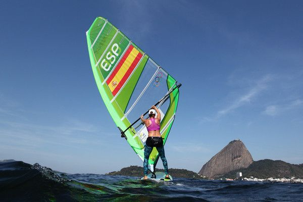 Marina Alabau Neira of Spain in action on her RS-X class board during training at Marina da Gloria on August 6, 2016 in Rio de Janeiro, Brazil.