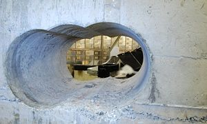 The hole drilled by the burglars that allowed them to gain access to the Hatton Garden Safe Deposit vault.