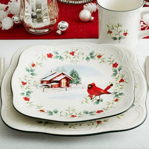 The Winterberry Square dinnerware with coordinating Cardinal Salad plate is a beautiful modern twist on this iconic holiday dinnerware pattern.