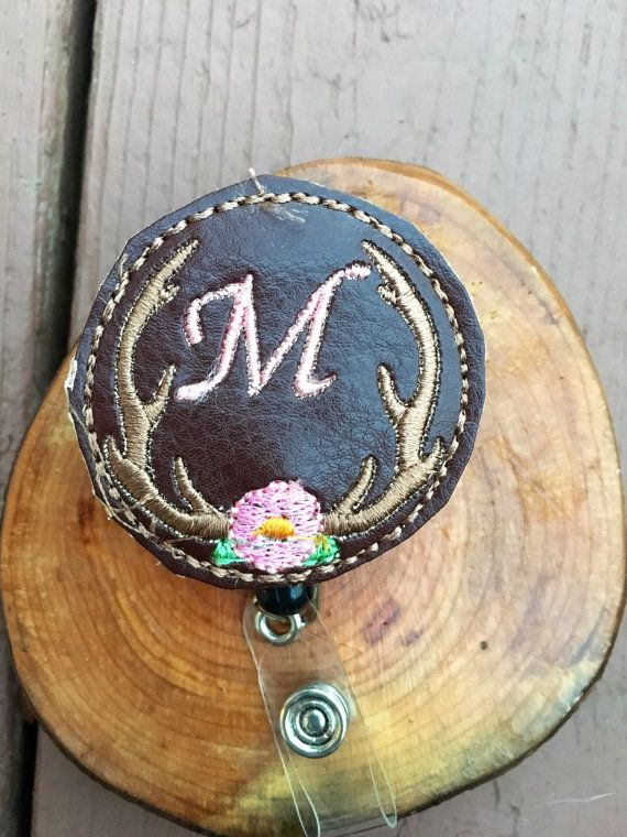 Monogram Badge Reel, leather badge reel, antler badge reel, woodland badge reel, embroidered Personalized Badge Reels, cute badge reel #etsy #hairbow #fashion #etsycanada #headband #kidsfashion #toddlerfashion #womensfashion #trend #shophandmade #trending