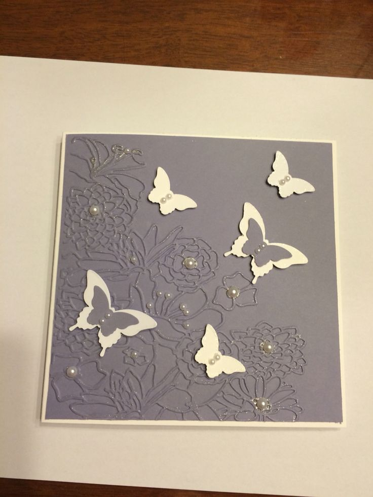 Butterfly punch and wisteria wonder card stock. Stamping up. Non SU embossing folder.