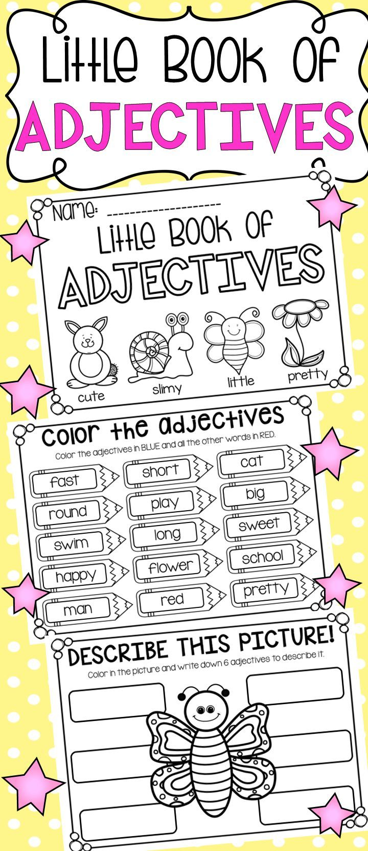 Worksheet Adjectives Printables 17 best ideas about adjectives activities on pinterest self esteem kids for and student birthday gifts