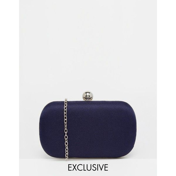 Chi Chi London Box Clutch Bag in Midnight Navy ($48) ❤ liked on Polyvore featuring bags, handbags, clutches, navy, navy blue purse, navy clutches, hard clutch, chain handbags and clasp purse