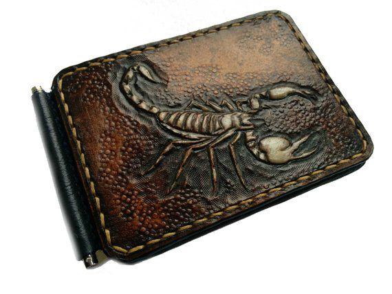 b386509e7a35 Scorpion wallet, Genuine Leather wallet, Men's Money Clip, Hand ...