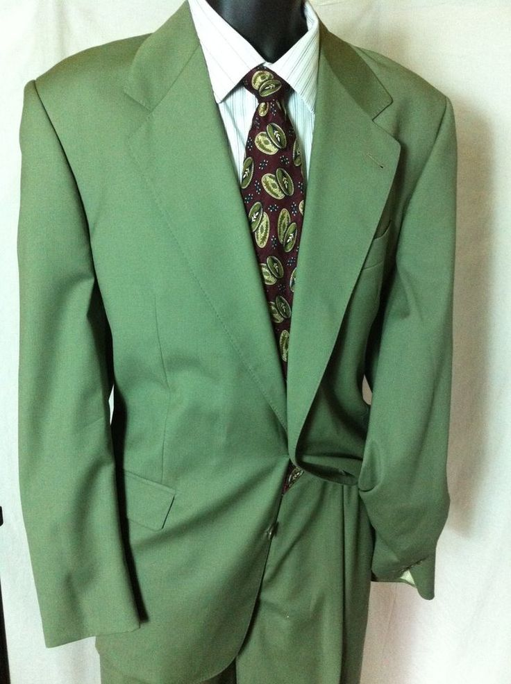 Mario Zegna Italy Men S 44r Olive Green Suit 36x32 Pants
