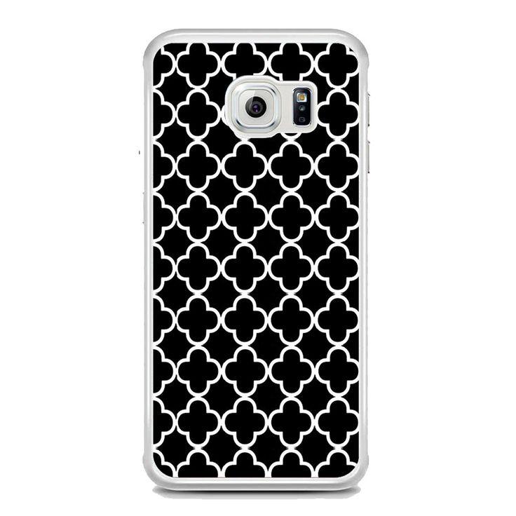 Black And White Quatrefoil Pattern Samsung Galaxy S6 Edge Plus Case