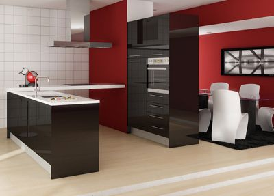 Cocinas modernas muebles de cocina negro blanco y - Cocinas en blanco y negro ...
