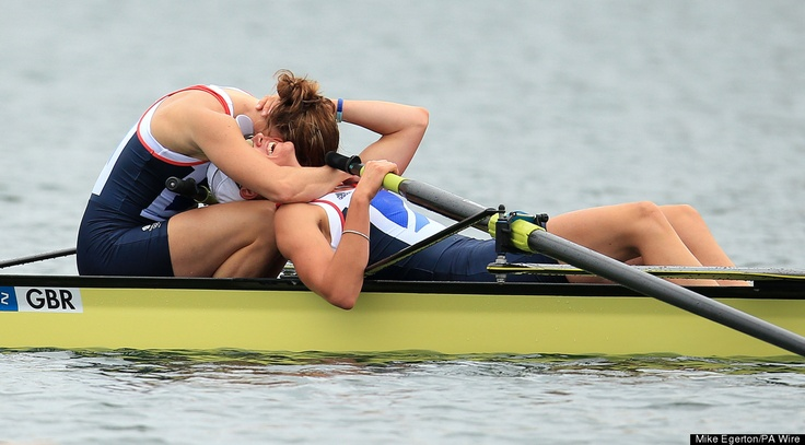 Great Britain's Helen Glover (left) and Heather Stanning celebrate winning gold in the women's pair final at Eton Dorney Lake, London.