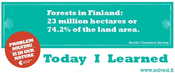 TIL: Forests in Finland: 23 million hectares or 74.2% of the land area.