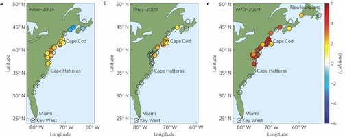 See level rises - Spatial variations of SLRD on the North American east coast.