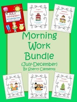 This morning work bundle includes 6 Morning Work packs (July, August, September, October, November, and December).- Kindergarten - First Grade - Second Grade - Homeschool - Sherry Clements - $
