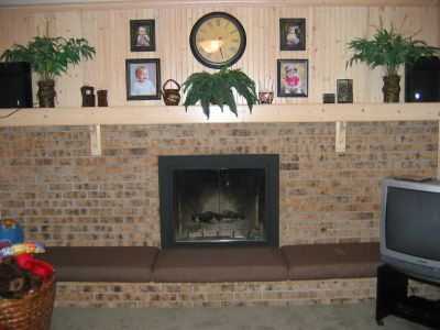 Hearth Safety Cushion With Wood Burning Fireplace Middle